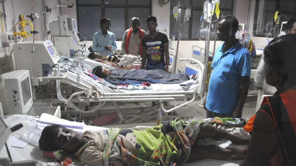 An inside view of a ward of BRD Hospital in Gorakhpur.