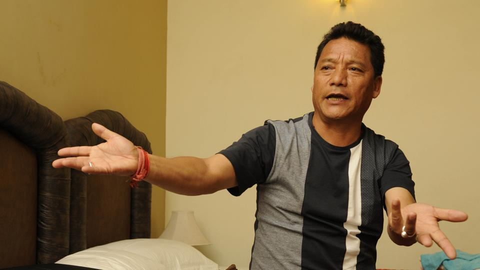File picture of Bimal Gurung at a Kalimpong hotel on in September 2015. The GJM chief is believed to be hiding somewhere in Sikkim.