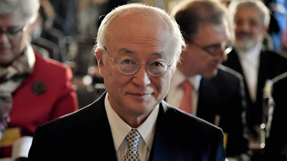 International Atomic Energy Agency director general Yukiya Amano delivers a speech during a meeting at Accademia dei Lincei in Rome on October 9, 2017.