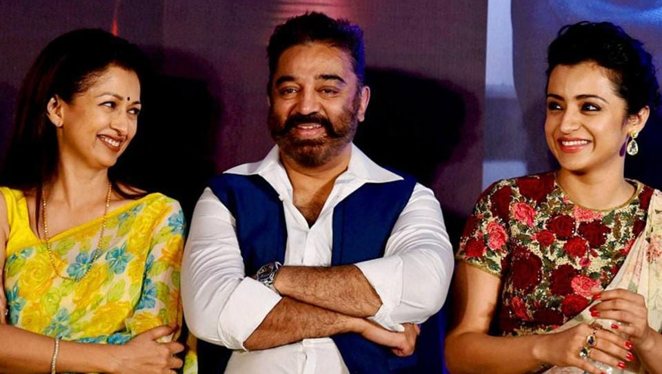 Kamal Haasan and Gautami Tadimalla stayed together for 13 years before partying ways. They are seen here at the launch of their  film Thoonga Vanam in Chennai along with actor Trisha.