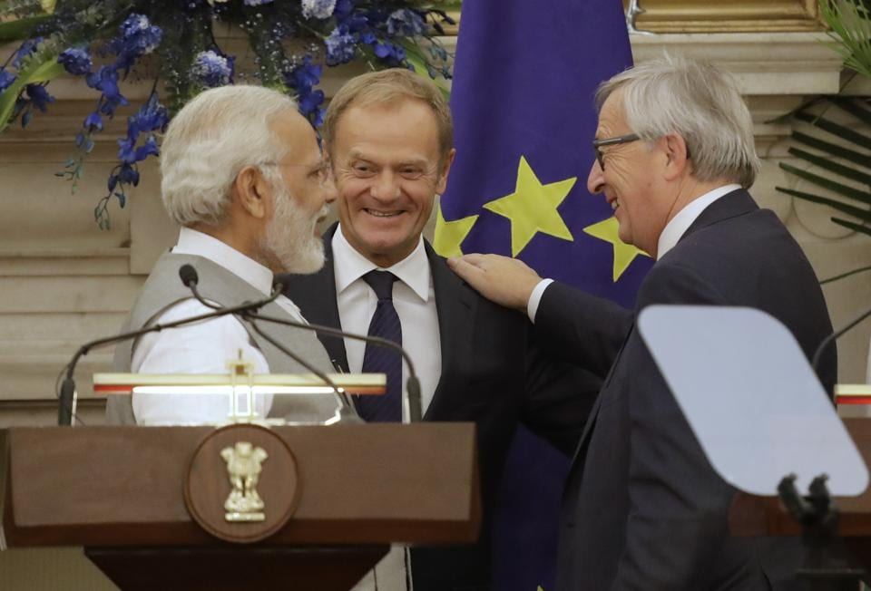 Prime Minister Narendra Modi, left, with President of the European Council Donald Tusk, centre, and President of the European Commission Jean-Claude Juncker, in New Delhi. The European Union and India will step up efforts to counter violent extremism and radicalisation, particularly online, and enhance military cooperation for maritime security in the Indian Ocean and beyond.