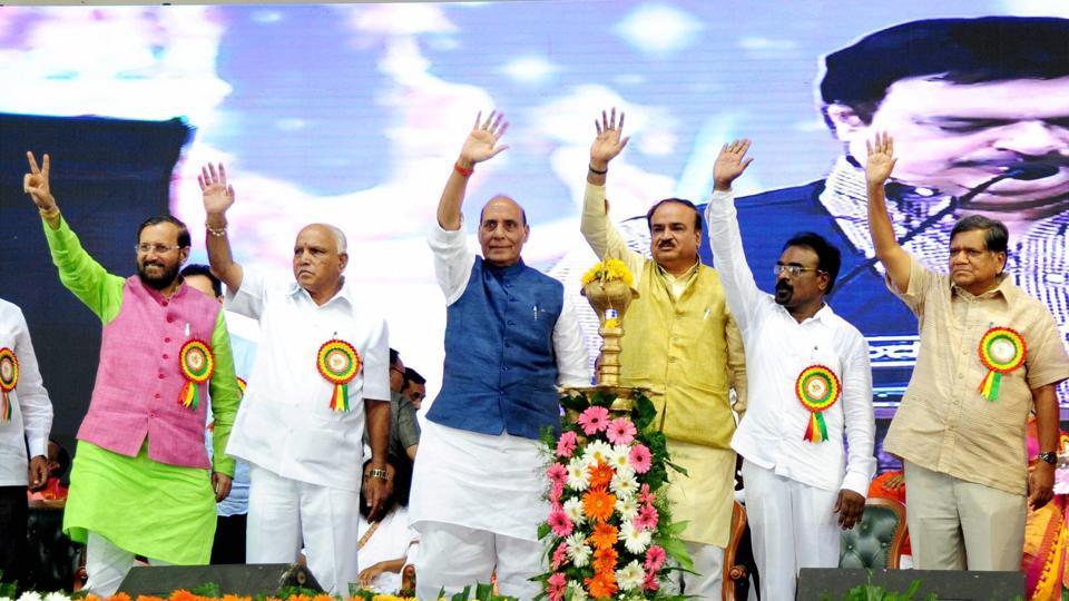 Union home minister Rajnath Singh, BJP state unit president BS Yeduyurappa, Union minister Ananth Kumar and Prakash Javdekar during a programme held to celebrate the 9th anniversary of Vishwakarma Mahasabha at palace grounds in Bengaluru.