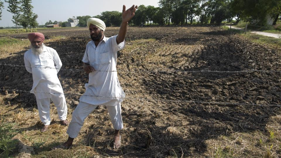 Darshan Singh, a farmer from Bandna Village talks about agricultural stubble processing. Farmers set crop residue afire mainly because of cost concerns and the short gap between summer and winter crops. (Sanchit Khanna/HT PHOTO)