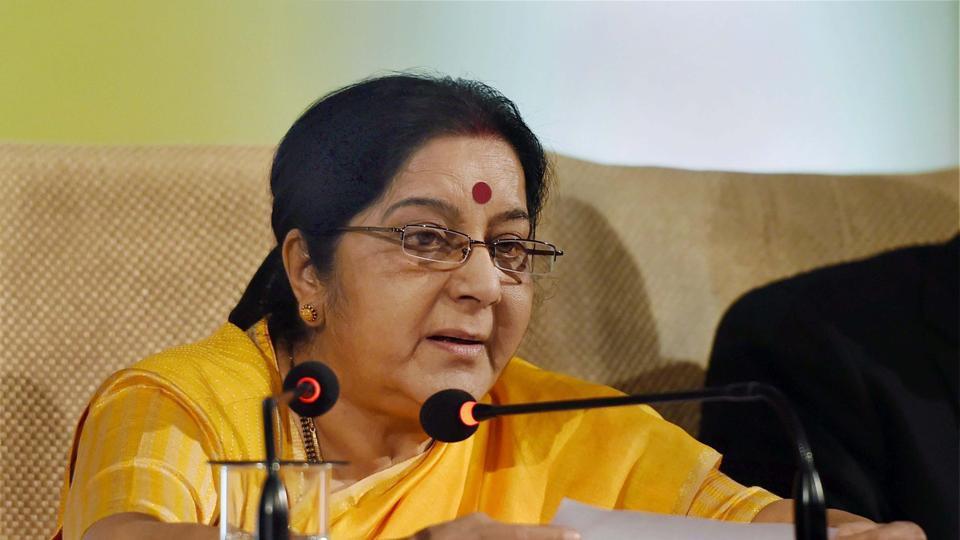 Sushma Swaraj delivering her keynote address on ASEAN-India partnership in New Delhi on Thursday.