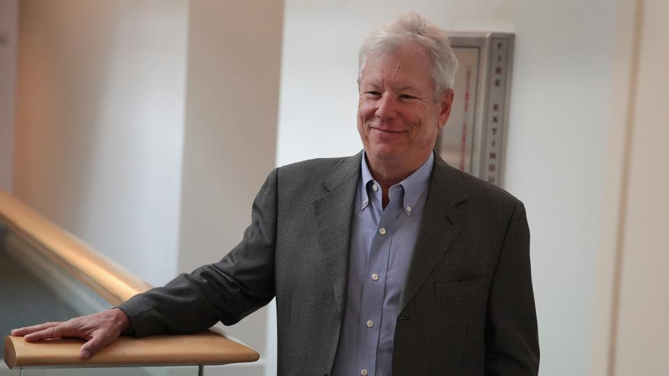 University of Chicago Professor Richard Thaler arrives at his office after learning he had been awarded the 2017 Sveriges Riksbank Prize in Economic Sciences in Memory of Alfred Nobel on October 9, Chicago, Illinois.