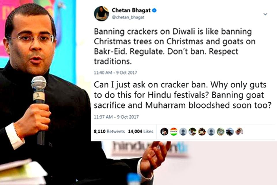 Chetan Bhagat was slammed by several Twitter users who said Diwali was supposed to be a festival of lights, not pollution.
