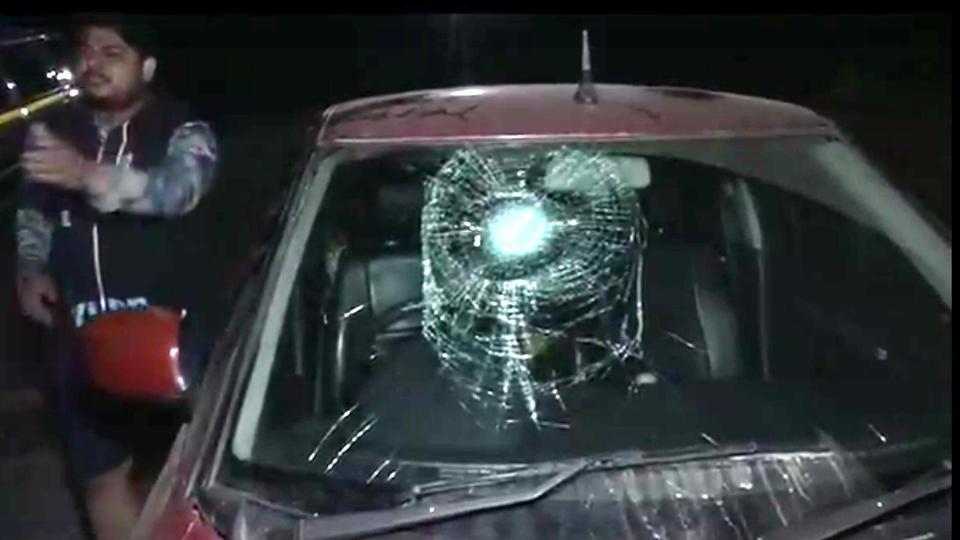 The damaged windshield of complainant Munish Manhas's car.