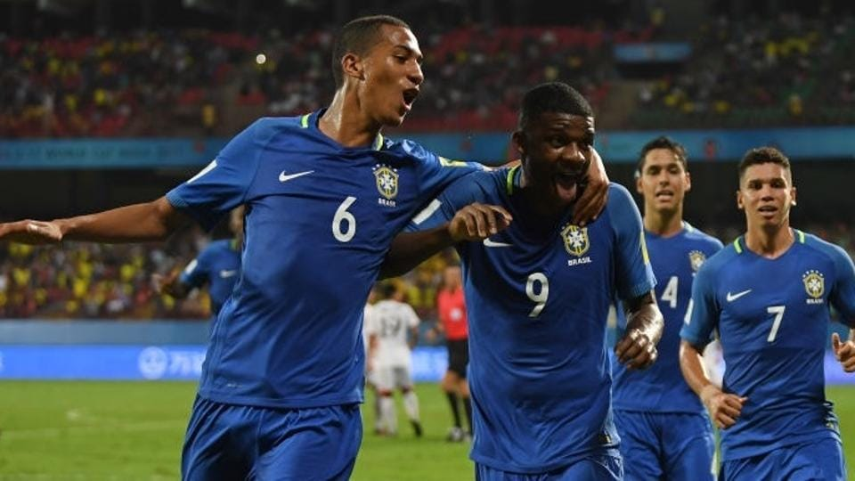 Lincoln (left) of Brazil celebrates with teammates after socring against North Korea during their FIFA U-17 World Cup match at the Jawaharlal Nehru International Stadium in Kochi on Tuesday.