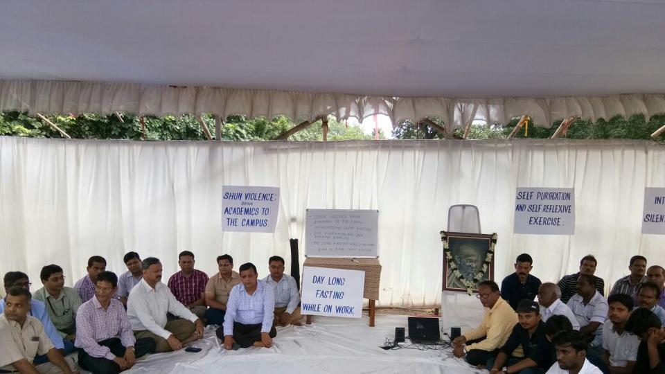 A scene at the protest on Tuesday morning.