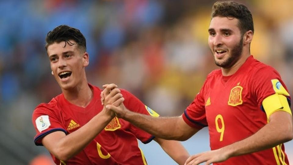Abel Ruiz of Spain celebrates with teammate Antonio Blanco after scoring his second goal during the FIFA U-17 World Cup Group D match against Niger at the Jawaharlal Nehru International Stadium on Tuesday. Get match highlights of Spain vs Niger here.