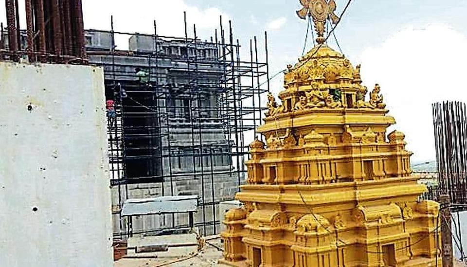A sprawling 11-acre Yadadri temple complex that will consist of seven temple domes, including a 100-foot main dome, a 1,400 acre tourist facilities comprising cottages, multilevel parking, and housing for the temple priests.