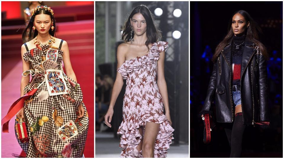 Left to right: Dolce & Gabbana celebrates the Queen of Hearts - Spring/Summer 2018, Frills at Giambatista Valli - Spring/Summer 2018, Leather brings rock 'n' roll vibes to Tommy Hilfiger - Spring/Summer 2018.