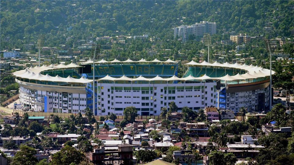 Bird's eye view of ACA Stadium in Barsapara, Guwahati, which will host the 2nd T20 International match between India and Australia on Tuesday.