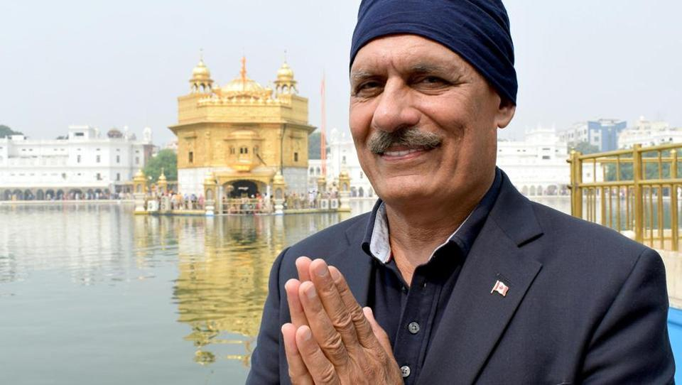 Canadian House of Commons MP (Member Parliament) Jatinder Singh Sidhu paying obeisance at the Golden Temple in Amritsar.