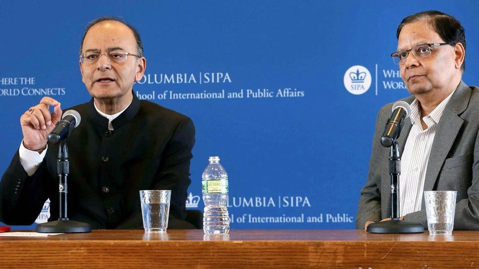 Finance minister Arun Jaitley and Arvind Panagariya during a conversations at School of International Public Affairs of Columbia University in New York on Tuesday.