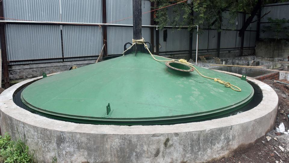 A biogas plant erected by PMC on Ghole road in Pune.