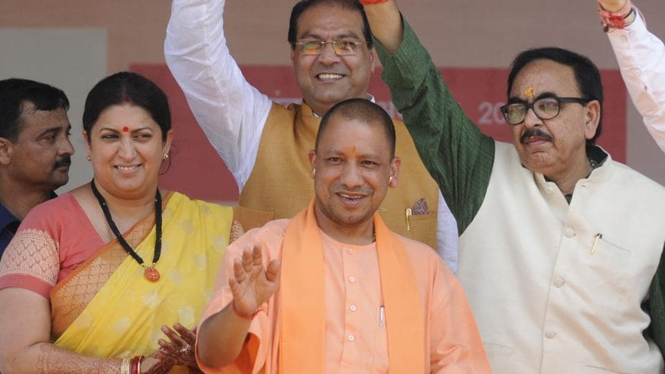 BJP national president Amit Shah, Chief Minister of Uttar Pradesh Yogi Adityanath and Union Information and Broadcast Minister Smriti Zuben Irani on dais during launch of several projects at Gauriganj in Amethi, India on Monday, October 10, 2017.