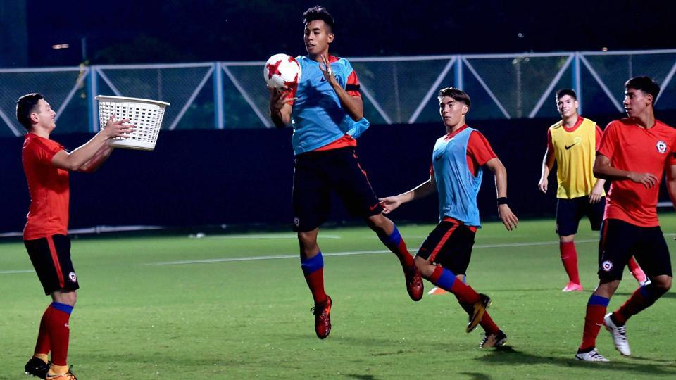 Chile footballers during a training session in Kolkata on Tuesday, on the eve of their FIFA U-17 World Cup Group F match against Iraq.