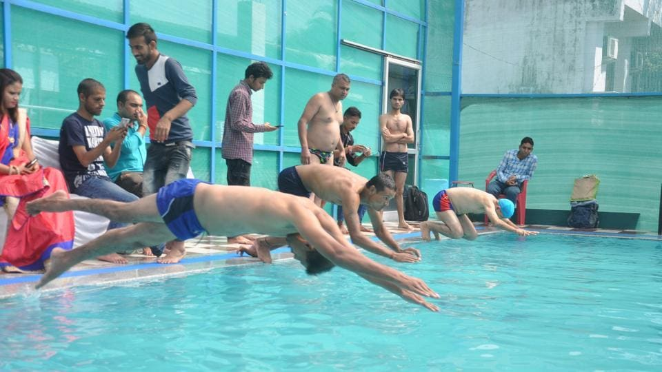 Swimmers participate in an event during the 1st Uttarakhand State Paralympic Swimming Championship in Dehradun on Tuesday.