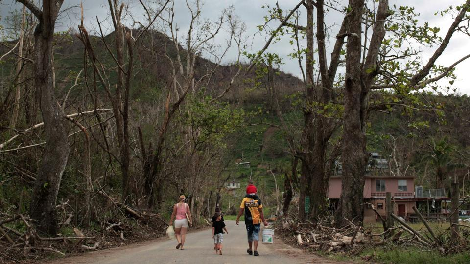 Residents walk along a devastated landscape after Hurricane Maria ravaged San Lorenzo. With schools closed until at least January and their main link to the world broken, many village residents are considering fleeing to the mainland United States. (Alvin Baez / REUTERS)