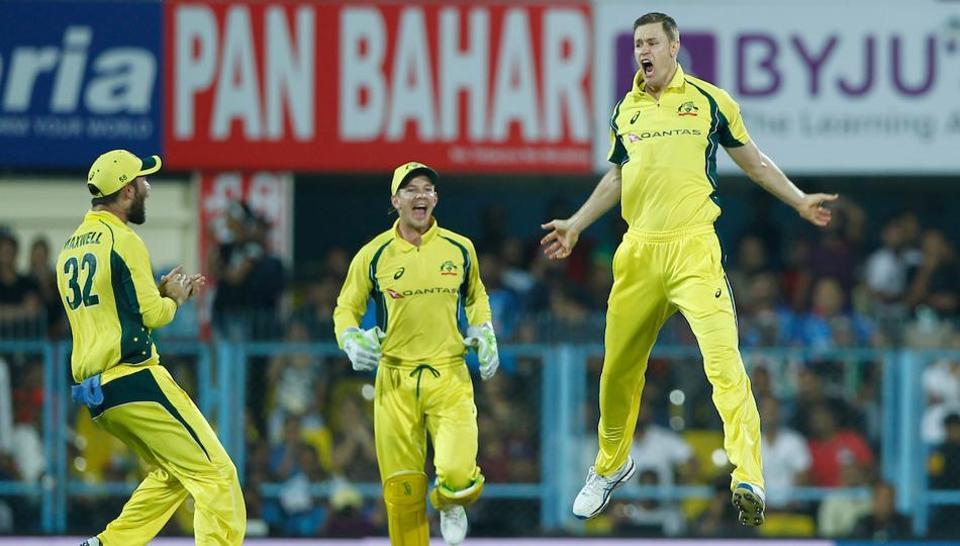Riding on Jason Behrendorff's 4/21 and Moises Henriques's unbeaten fifty, Australia beat India by eight wickets in the Guwahati T20 to square the series 1-1. (BCCI)