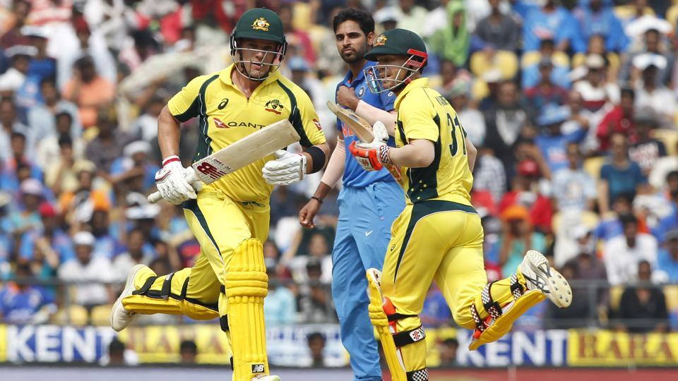 Aaron Finch and David Warner of Australia run between the wickets. Much of Australia's success in the 2nd T20 international between India vs Australia in Guwahati's Barsapara Stadium will depend on this duo. Follow full cricket score of India vs Australia 2nd T20 here