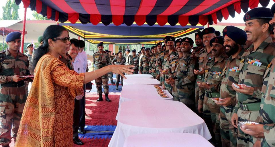 Defence minister Nirmala Sitharaman interacts with Army officers and jawans at Gajraj Corps HQ of Tezpur, Assam on Sunday.
