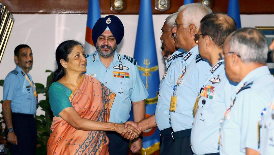 Union defence minister Nirmala Sitharaman interacting with IAF Commanders during a conference in New Delhi on Tuesday.