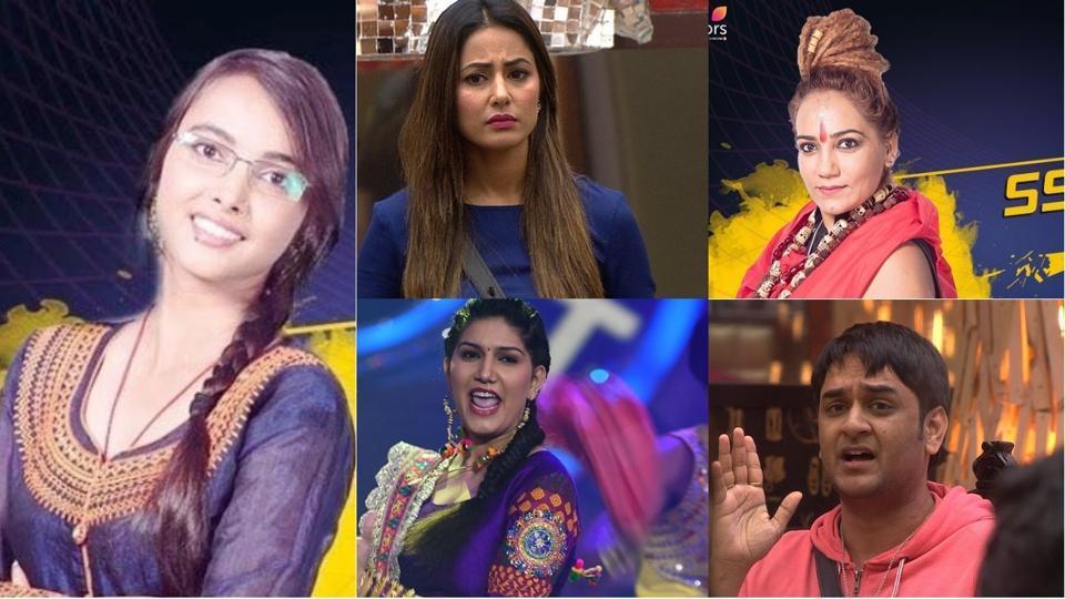 In Bigg Boss 11, Jyoti Kumari, Hina Khan, Sshivani Durgah, Sapna  Choudhary and Vikas Gupta have been nominated for evictions this week.