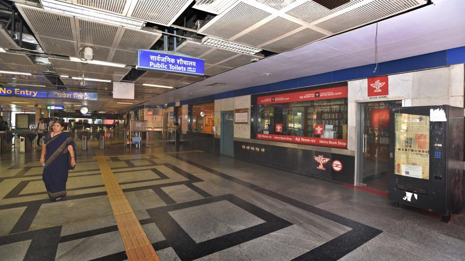 The counters at Delhi Metro were deserted due to protests against the fare hike at Vishwavidhyalaya Metro Station in New Delhi.