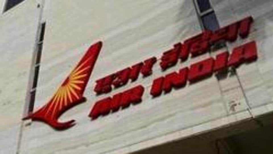 The Air India logo is seen on the facade of its office building in Mumbai.