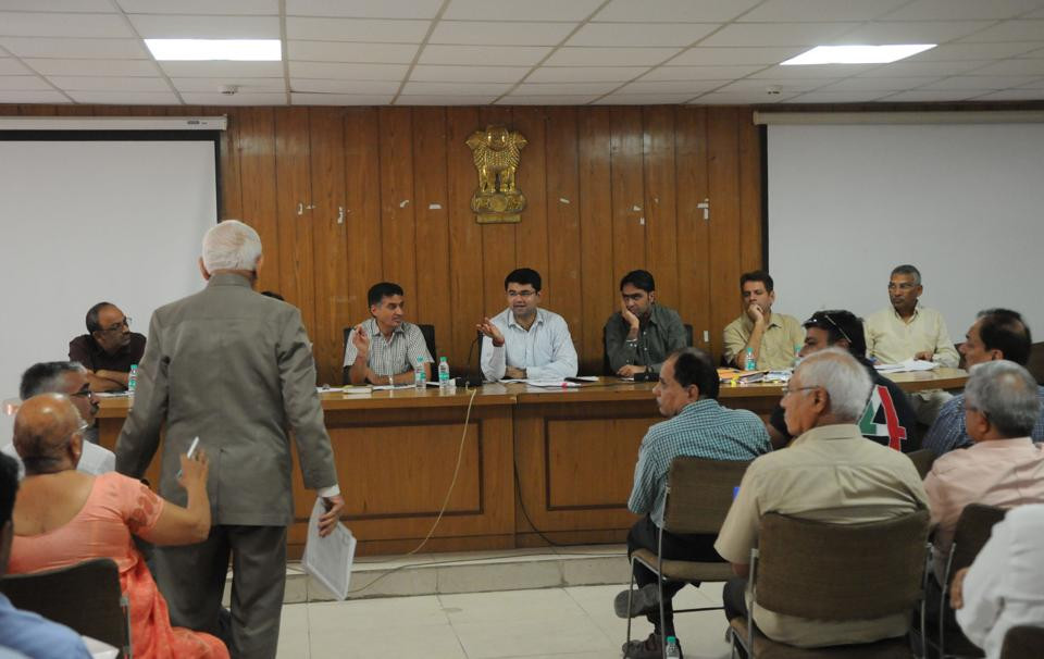 Gurgaon deputy commissioner Vinay Pratap Singh chaired the Allottees' Grievance Redressal Forum on Tuesday.
