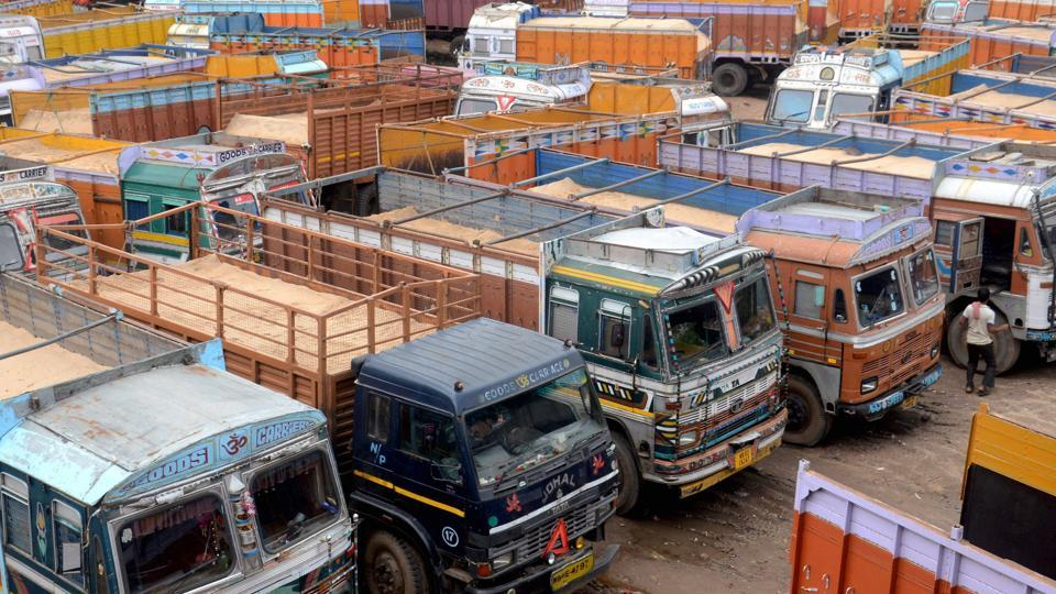Trucks standing as the all India truck strike enters its second day in Kolkata on Tuesday.