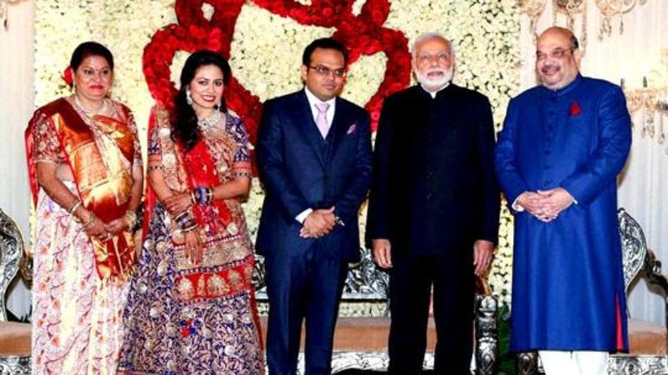 Prime Minister Narendra Modi with BJP national president Amit shah and his son Jay at his wedding reception in New Delhi. (PTI File Photo)