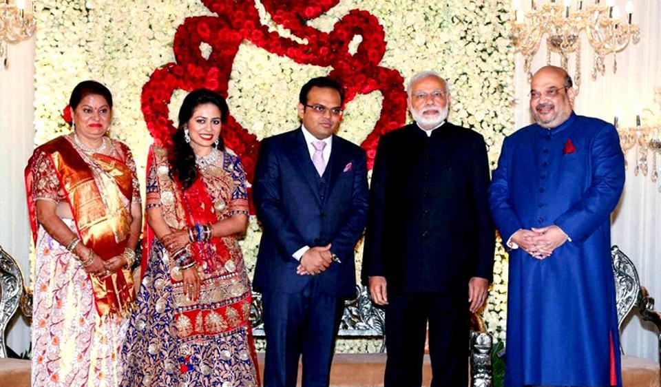 Prime Minister Narendra Modi with BJP national president Amit shah and his son Jay and daughter in law Rishita during their wedding reception in New Delhi on Sunday.