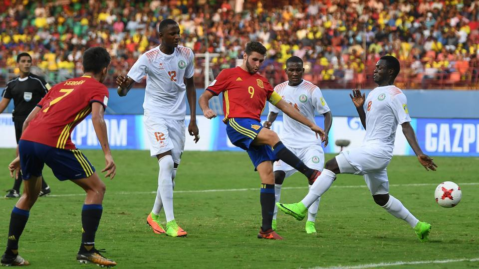 Abel Ruiz of Spain scores his second goal during their FIFA U-17 World Cup 2017 Group D match against Niger at the Jawaharlal Nehru International Stadium in Kochi on Tuesday.