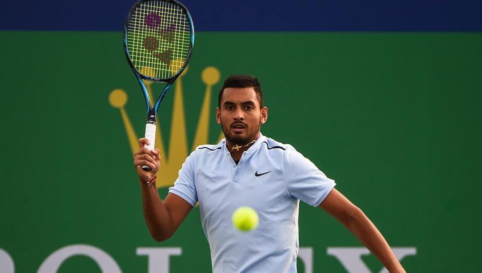 Nick Kyrgios lost the first set to Steve Johnson in a tie-break before retiring at Shanghai Masters .