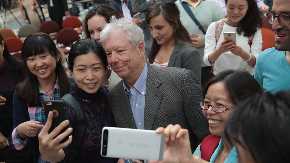 University of Chicago professor Richard Thaler poses for pictures following a reception at the university after learning he had been awarded the 2017 Sveriges Riksbank Prize in Economic Sciences in Memory of Alfred Nobel on October 9, Chicago, Illinois