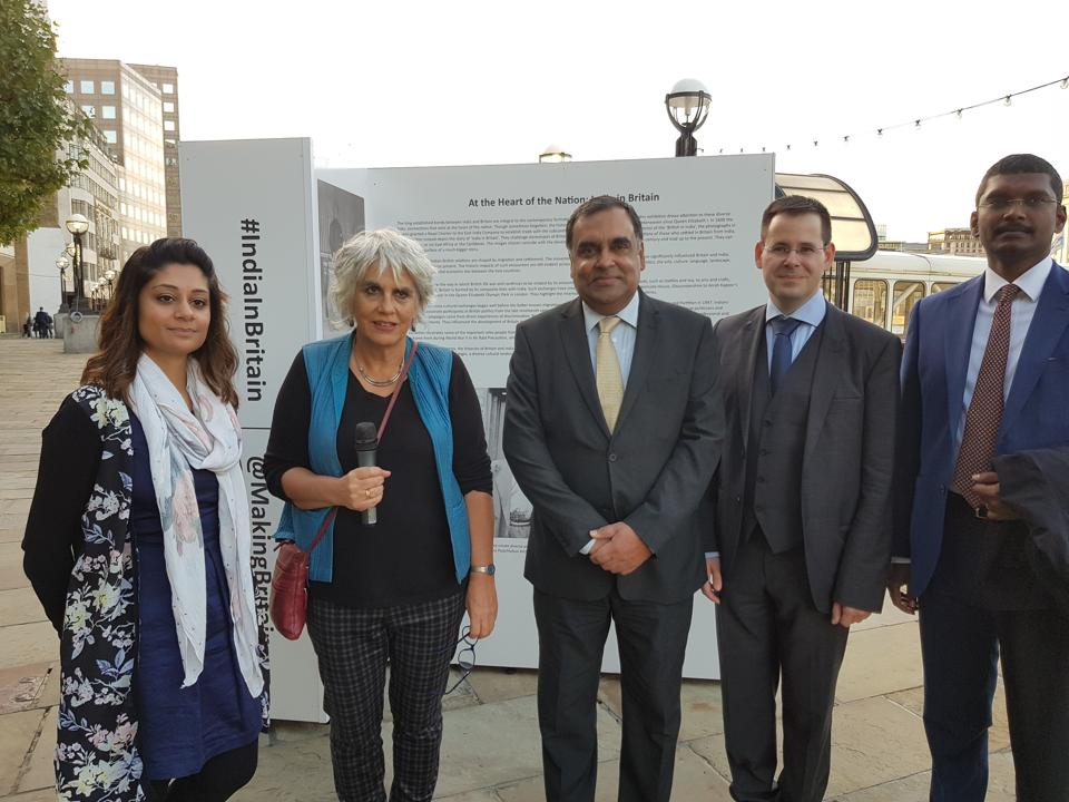 (From left) Maya Parmar and Susheila Nasta of Open University, India's high commissioner YK Sinha, Florian Stadler of the University of Exeter, and Nehru Centre director Srinivas Gotru at the exhibition by the London bridge pier on Tuesday.