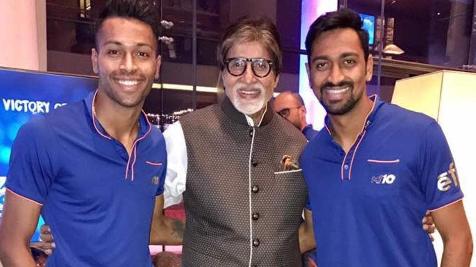 Amitabh Bachchan with Hardik Pandya and his brother Krunal after Mumbai Indians won a record third Indian Premier League title earlier this year