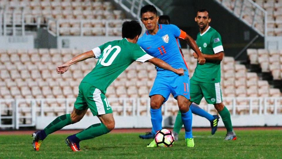 Sunil Chhetri in action during India's AFC Asian Cup UAE 2019 away leg fixture against Macau on September 5, 2017. Bangalore will host the return leg match on Wednesday.
