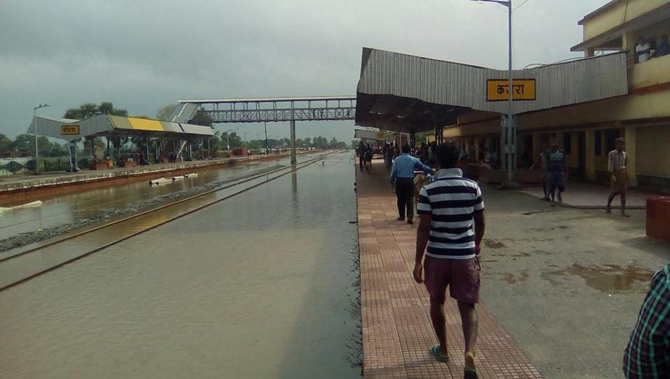 Submerged railway tracks at Kajra station in Bihar's Lakhisarai district temporarily disrupted movement of trains on Wednesday.