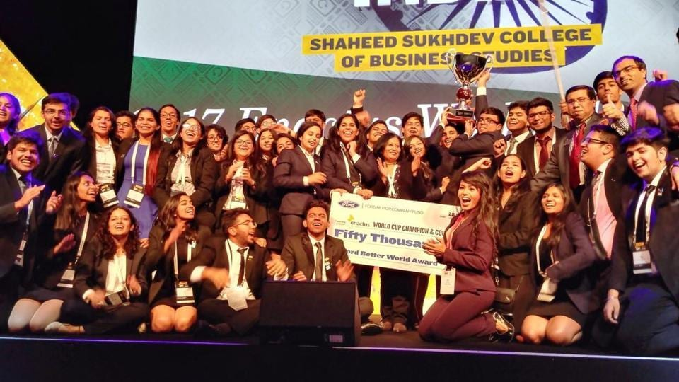 A moment from Team Enactus SSCBS's win at the Enactus World Cup 2017, which was held in London recently.