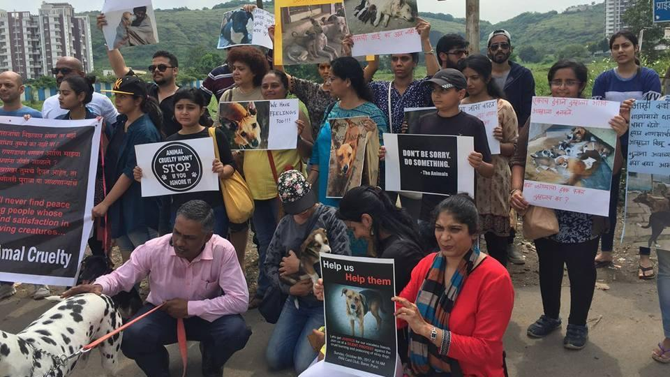 Members of a local animal welfare organisation hold a silent protest against the recent incidents reported from the city of dogs found poisoned and burnt to death, in Pune on Wednesday.