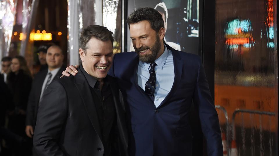Ben Affleck, right, and Matt Damon appear at the Live by Night, premiere in Los Angeles.