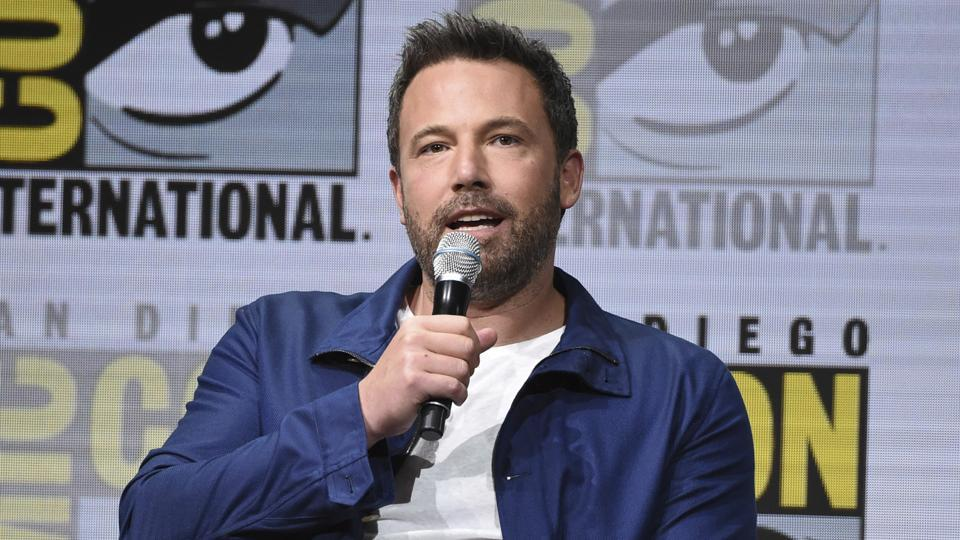 Ben Affleck speaks at the Warner Bros. Justice League panel on day three of Comic-Con International.