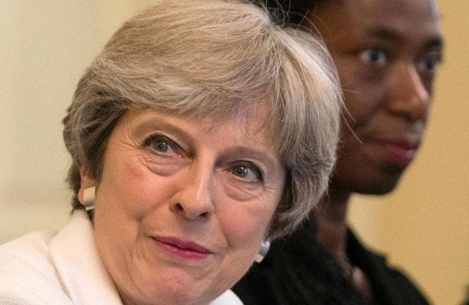 Britain's Prime Minister Theresa May hosts a discussion at 10 Downing Street in London on Tuesday.