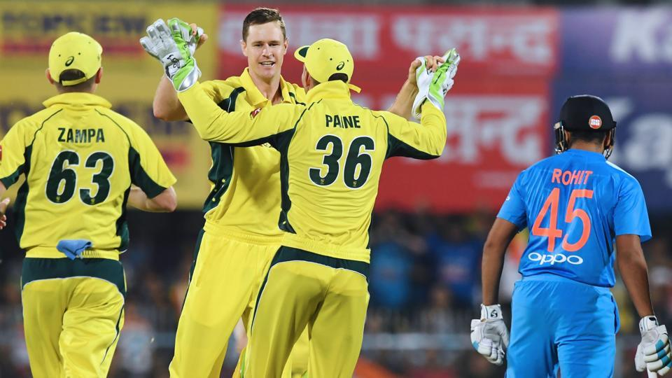 India lost Rohit Sharma and Virat Kohli in the first over of their innings against Australia in the 2nd T20I at Guwahati on Tuesday.