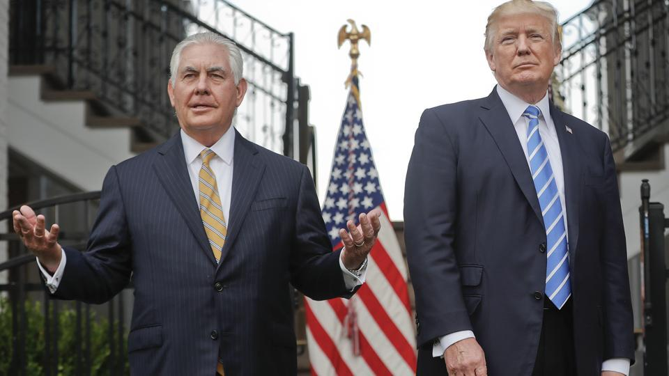Secretary of state Rex Tillerson speaks following a meeting with President Donald Trump at Trump National Golf Club in Bedminster.