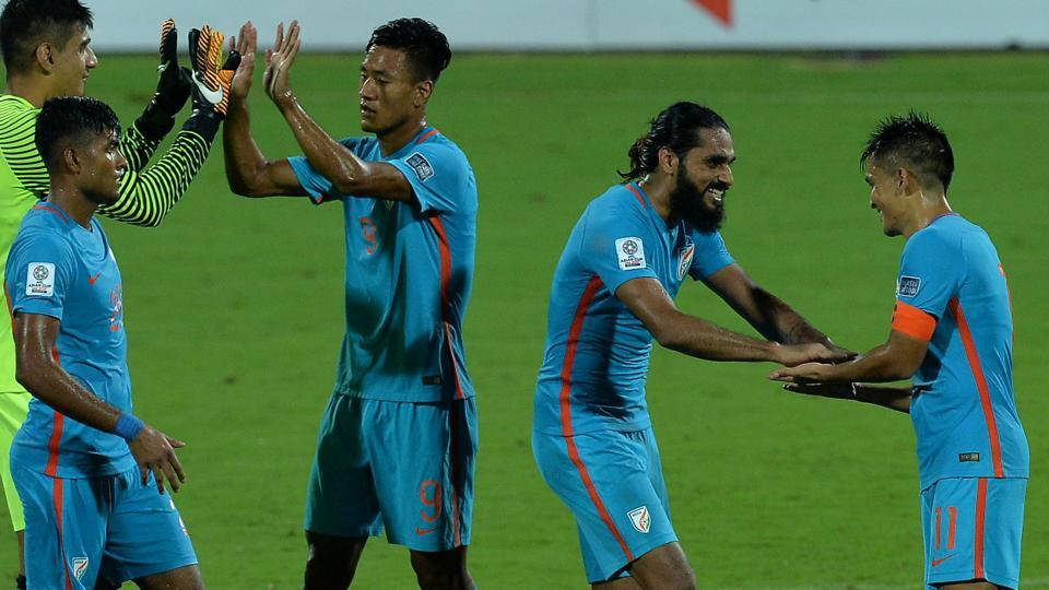 Indian football team captain Sunil Chhetri (R) celebrates with Sandesh Jhingan (2nd right) and other teammates after beating Macau in their 2019 AFC Asian Cup qualifying match at the Sree Kanteerava Stadium in Bengaluru on Wednesday.